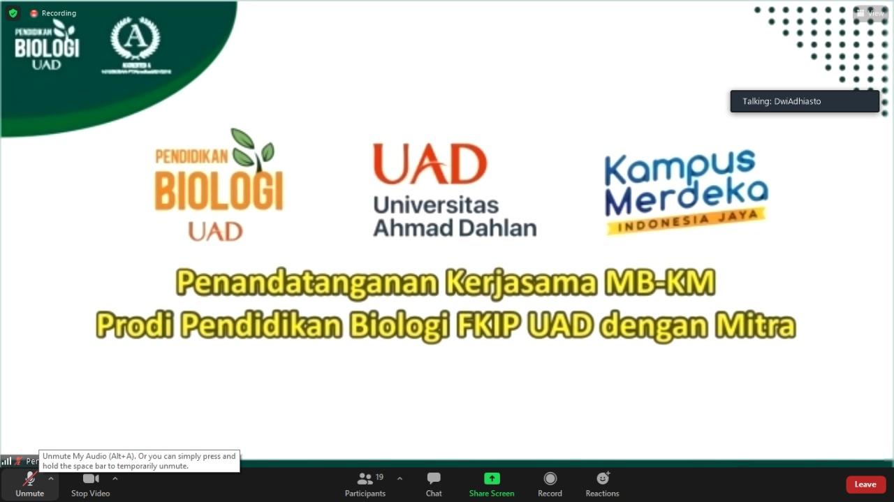 Implementasi MBKM Program Studi Biologi Menjalin 7 Kerja Sama